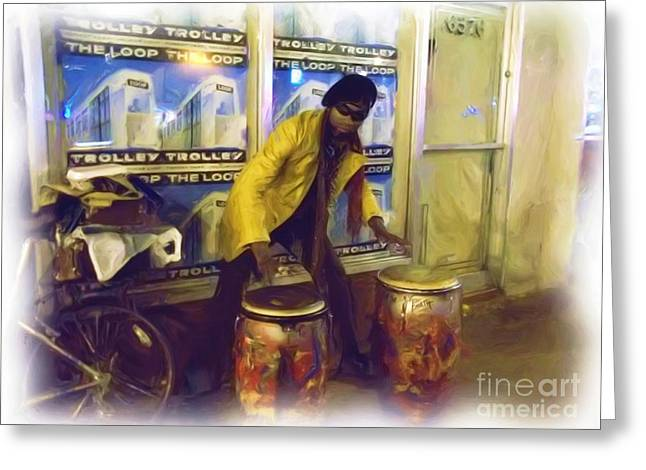 Greeting Card featuring the photograph Drumma Man In Oils by Kelly Awad
