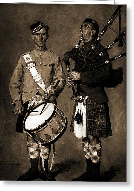 Drummer And Bagpipe Player In Scottish Uniform, Melchers Greeting Card