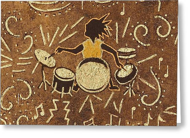 Drummer Greeting Card by Katherine Young-Beck