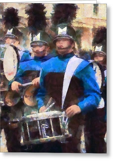 Drummers Greeting Card by Susan Savad