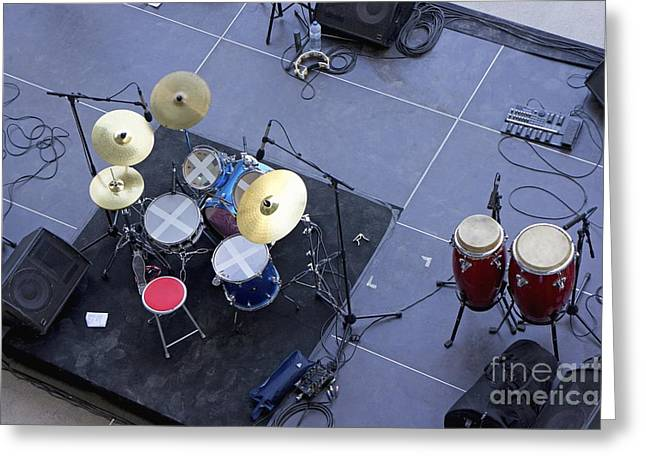 Drums Percussion And Monitors On Stage Greeting Card by Sami Sarkis