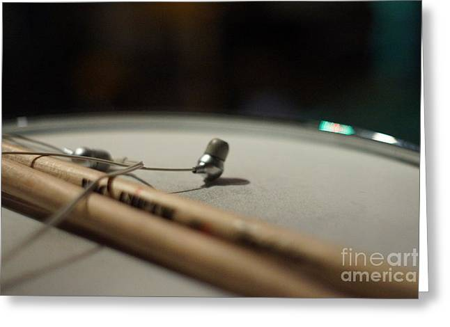 Drumsticks And Ear Buds Greeting Card by Lynda Dawson-Youngclaus
