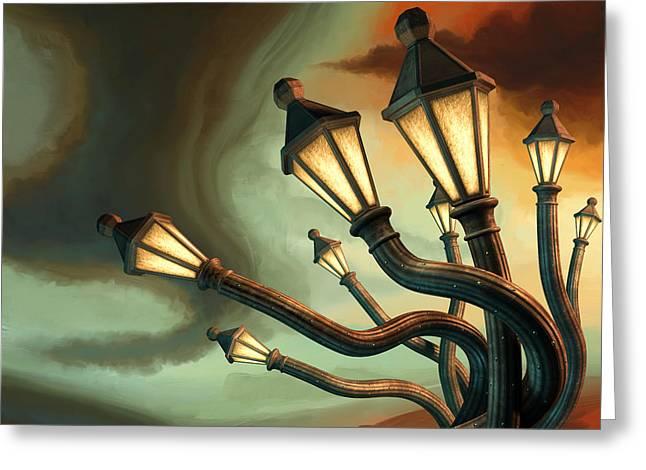 Drunk Streetlamps Greeting Card by Remus Brailoiu