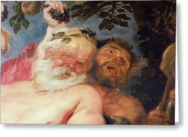 Drunken Silenus Supported By Satyrs, C.1620 Oil On Canvas Detail Greeting Card