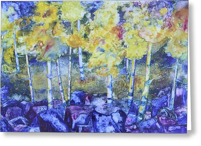 Dry Creek Aspens Greeting Card by Nancy Jolley