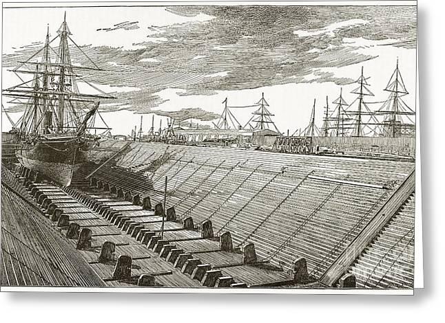 Dry Dock, New York, 19th Century Greeting Card