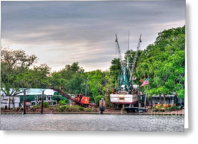 Dry Docked Shrimp Boat Greeting Card