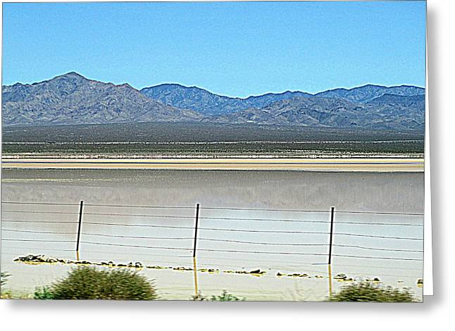Dry Lakebed With Water Greeting Card by Randall Weidner