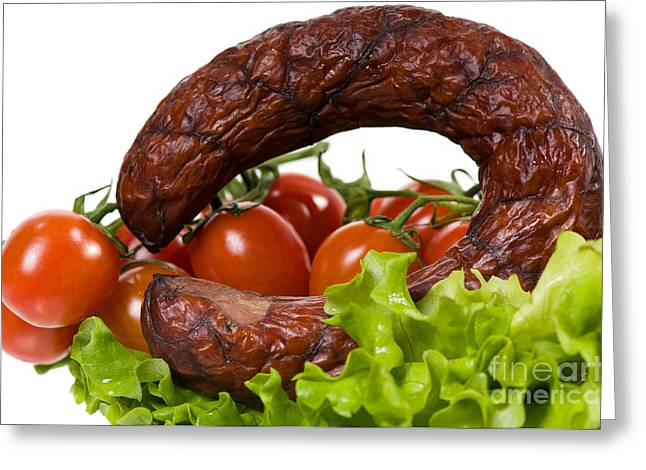 Sausage Lying On Lettuce With Red Cherry Tomato  Greeting Card