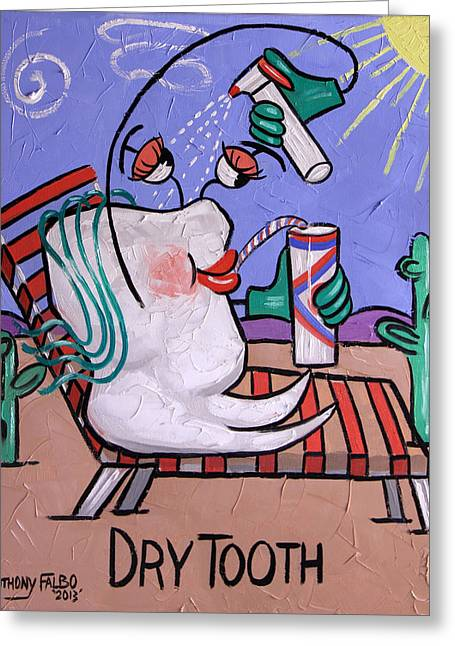 Greeting Card featuring the painting Dry Tooth Dental Art By Anthony Falbo by Anthony Falbo