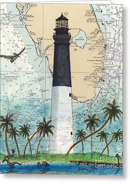 Dry Tortugas Lighthouse Fl Chart Map Art Greeting Card by Cathy Peek