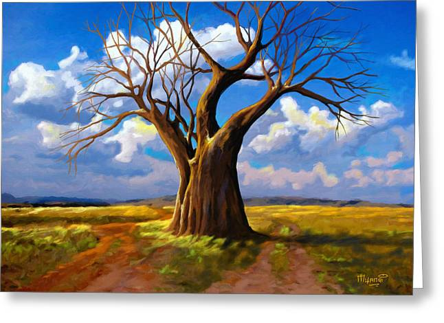 Dry Tree And Two Roads Greeting Card