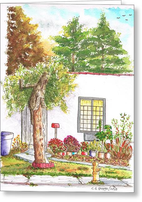 Dry Tree In Sherbourne Drive - West Hollywood - California Greeting Card