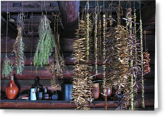 Drying Herbs And Vegetables In Williamsburg Greeting Card