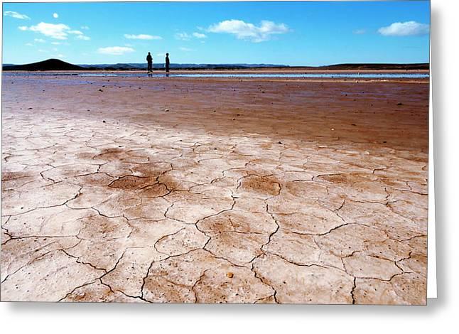 Drying Saharan Lake Greeting Card by Thierry Berrod, Mona Lisa Production