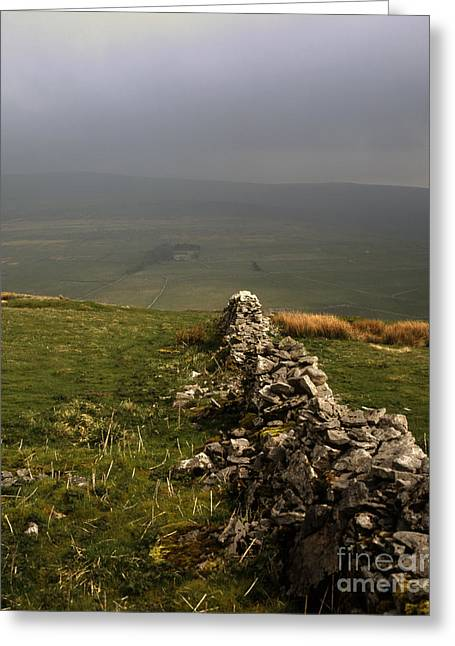 Drystone Wall  Misty Day Kettlewell Wharfedale North Yorkshire England Greeting Card