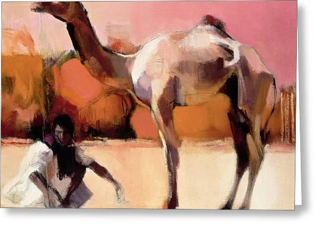 Dsu And Said, Rann Of Kutch, 1996 Oil On Canvas Greeting Card by Mark Adlington