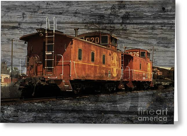Dual Cabooses Greeting Card by Robert Ball