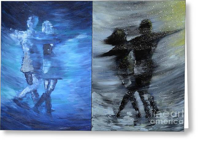 Dual Dancing In The Rain Greeting Card by Roni Ruth Palmer