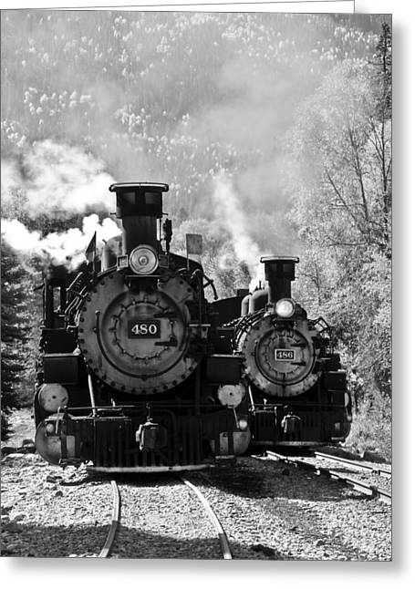 Dual Steam Engines Greeting Card by Marta Alfred