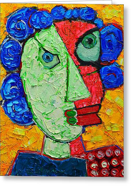 Duality In Oneness - Abstract Expressionist Portrait Greeting Card by Ana Maria Edulescu