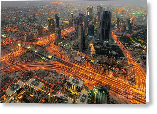 Dubai Areal View At Night Greeting Card