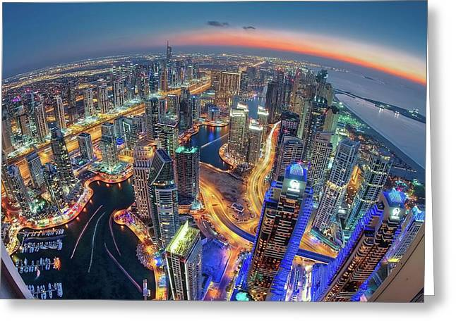 Dubai Colors Of Night Greeting Card by Sanjay Pradhan