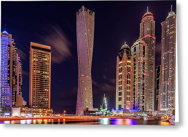 Dubai Marina Night Shot Greeting Card
