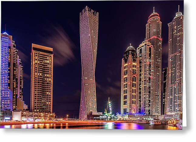 Dubai Marina Night Shot Greeting Card by Vinaya Mohan