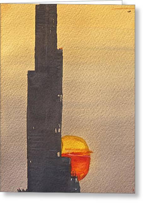 Dubai Sunset  Greeting Card by James Nyika