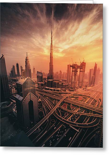 Dubai's Fiery Sunset Greeting Card