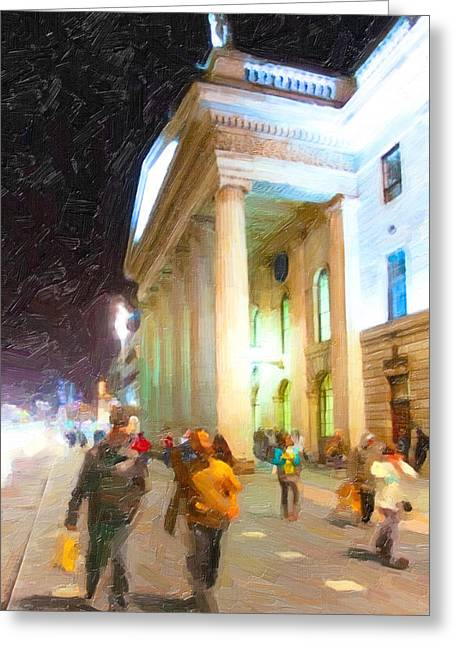 Dublin Ireland Post Office At Night Greeting Card by Mark Tisdale