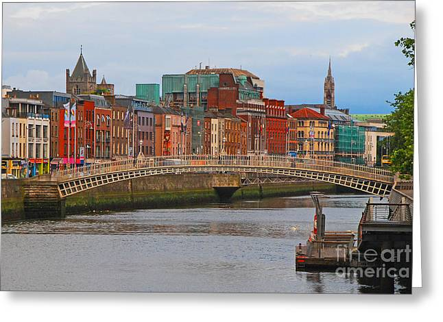 Dublin On The River Liffey Greeting Card by Mary Carol Story
