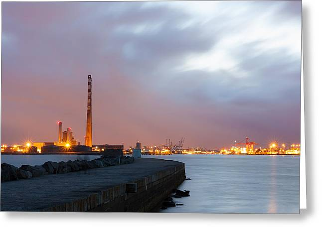 Dublin Port At Night Greeting Card