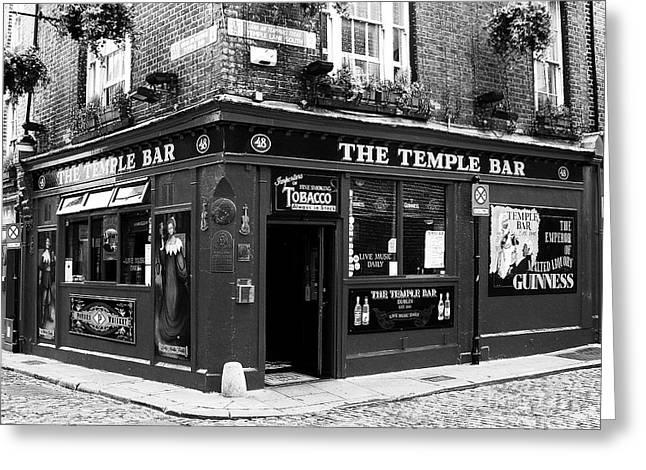 Dublin Pub Bw Greeting Card