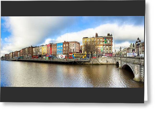 Greeting Card featuring the photograph Dublin River Liffey Panorama by Mark E Tisdale
