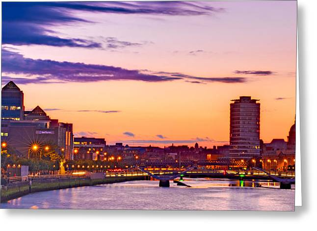 Dublin Skyline At Dusk / Dublin Greeting Card