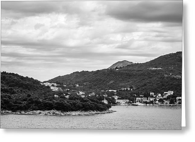 Dubrovnik Landscape Bw Greeting Card by Matti Ollikainen