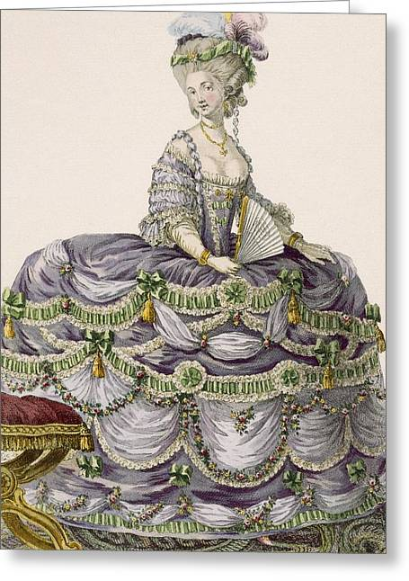 Duchess Evening Gown, Engraved Greeting Card by Pierre Thomas Le Clerc