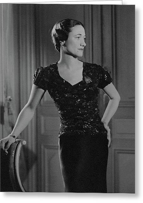 Duchess Of Windsor At Hotel Meurice Greeting Card by Horst P. Horst