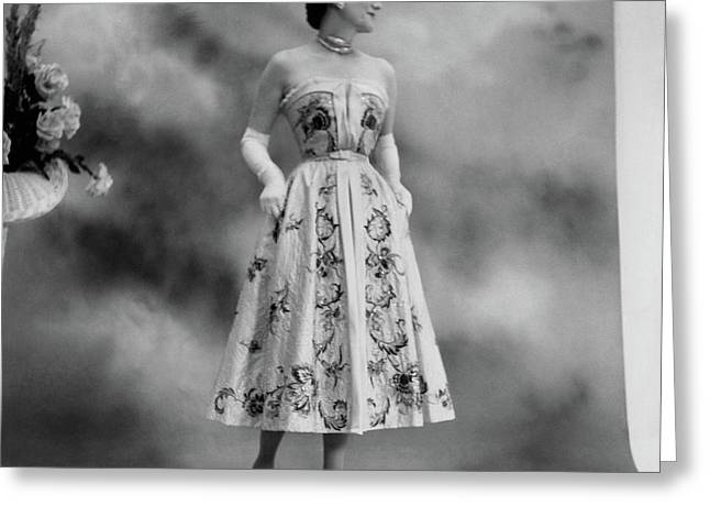 Duchess Of Windsor In A Dior Ball Gown Greeting Card by Cecil Beaton
