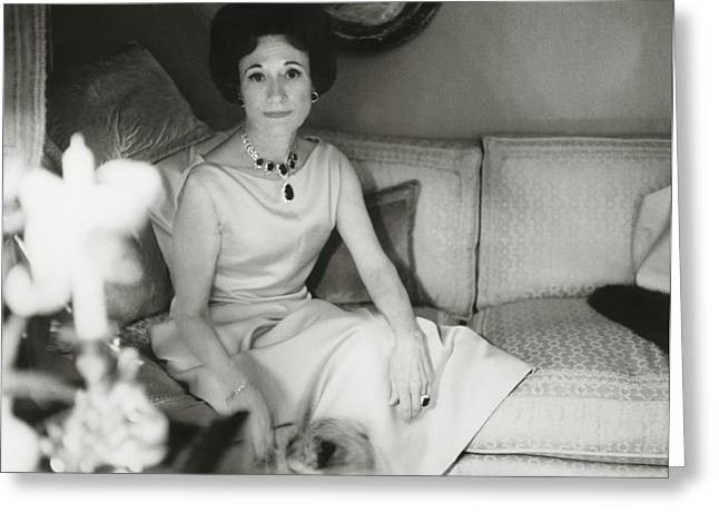 Duchess Of Windsor In Her Paris Home Greeting Card by Horst P. Horst