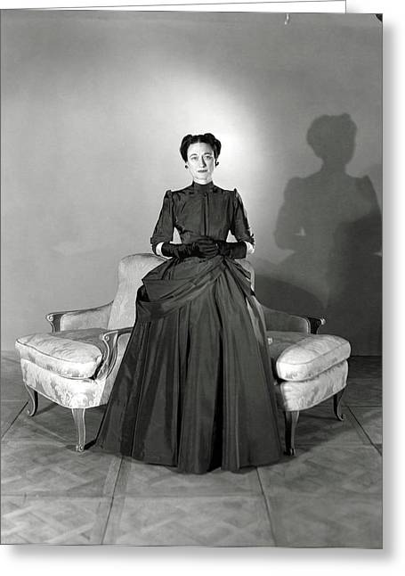 Duchess Of Windsor In Mainbocher Gown Greeting Card by Horst P. Horst
