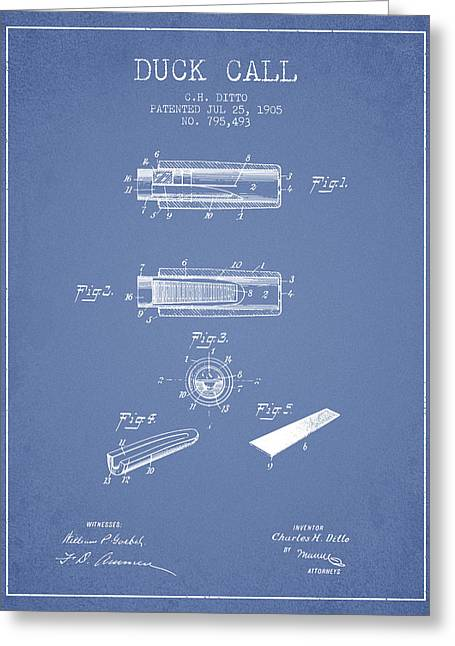 Duck Call Instrument Patent From 1905 - Light Blue Greeting Card by Aged Pixel