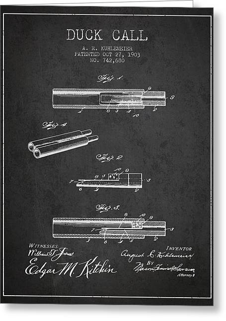 Duck Call Patent From 1903 - Charcoal Greeting Card