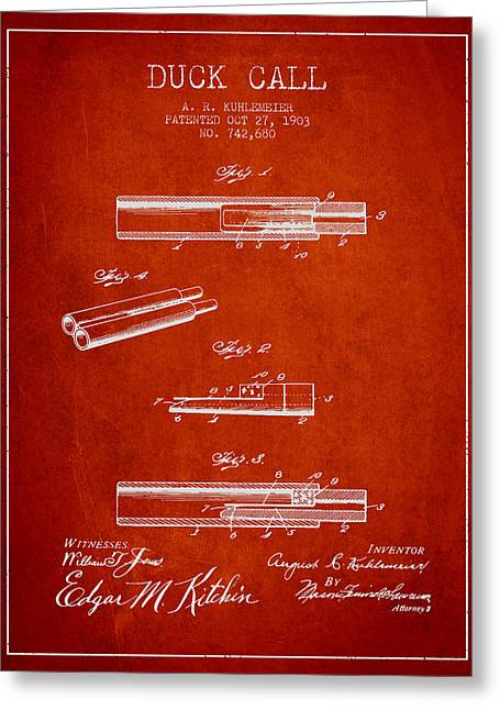 Duck Call Patent From 1903 - Red Greeting Card