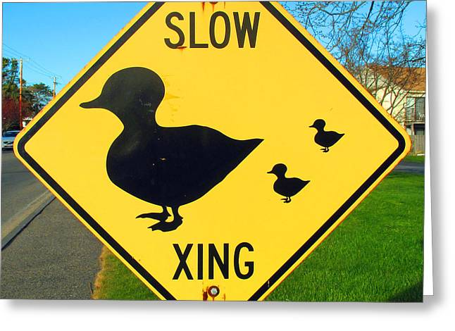 Duck Crossing Sign Greeting Card by Barbara McDevitt