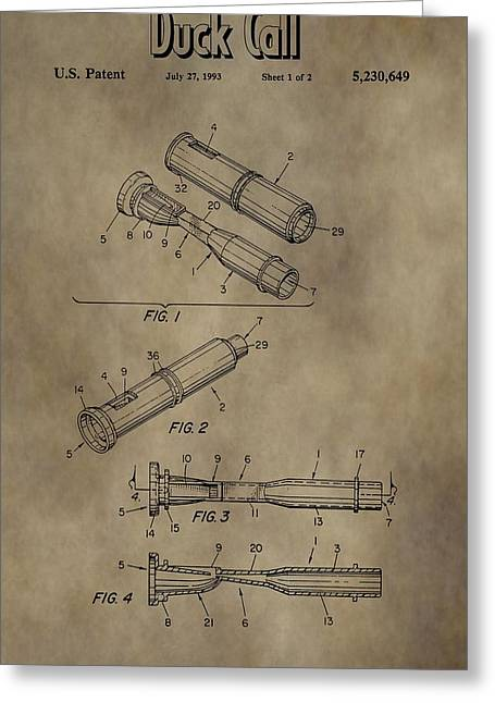 Duck Dynasty Duck Call Patent Greeting Card by Dan Sproul