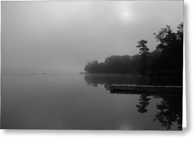 Duck Harbor Early Morning Fog Greeting Card by Patsy Zedar