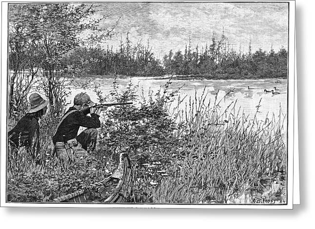 Duck Hunting, 1885 Greeting Card